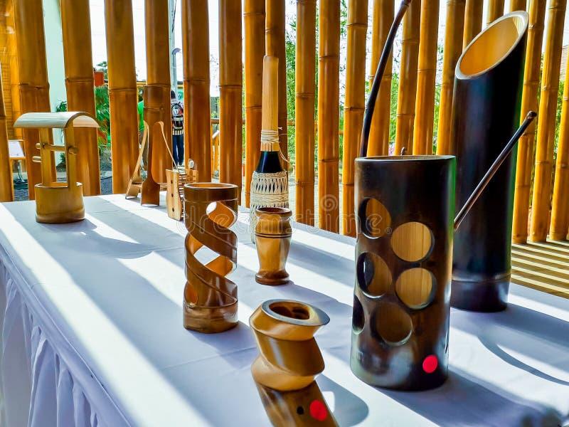 Bambu handcrafts i Nicaragua royaltyfria bilder