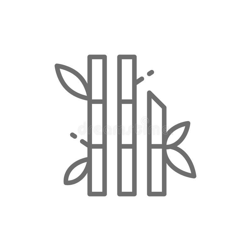Bambu med sidor fodrar symbolen royaltyfri illustrationer