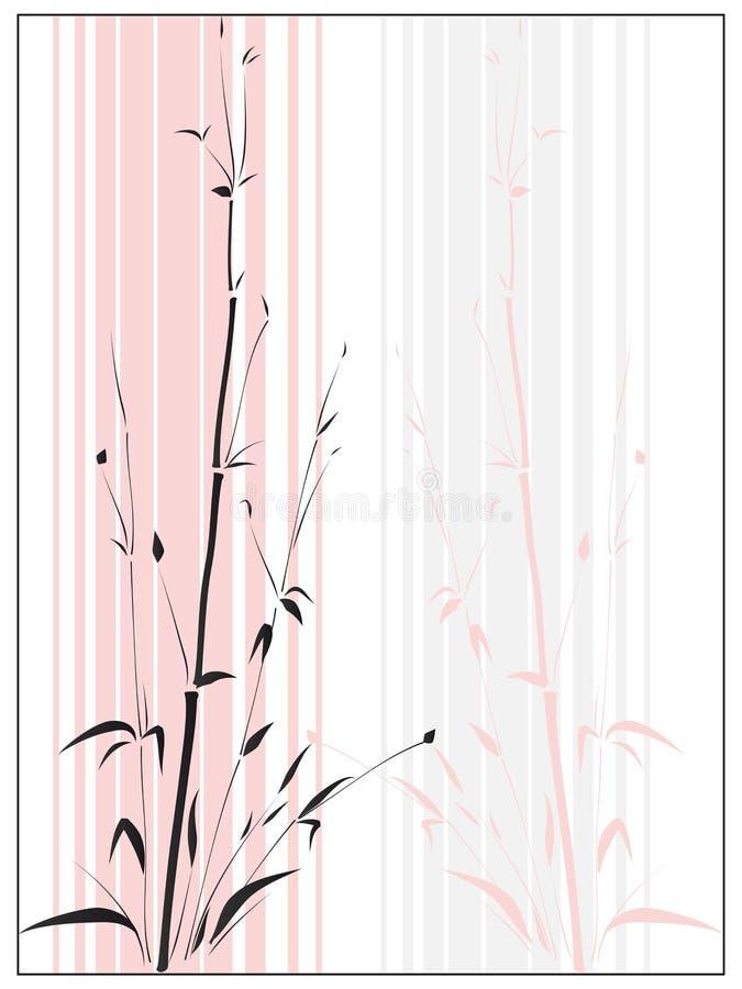 Bambu no estilo asiático desenhado pela tinta. ilustração stock