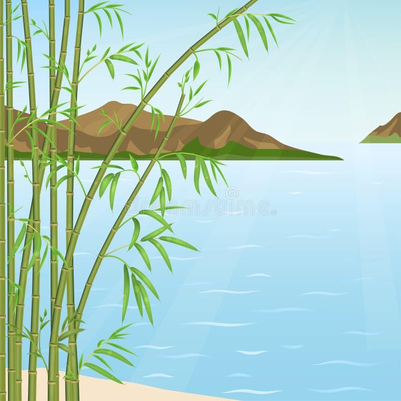 Bambu och vatten royaltyfri illustrationer