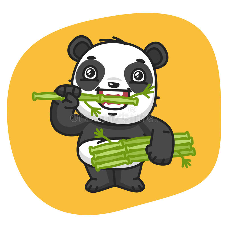 bambu som äter pandaen stock illustrationer
