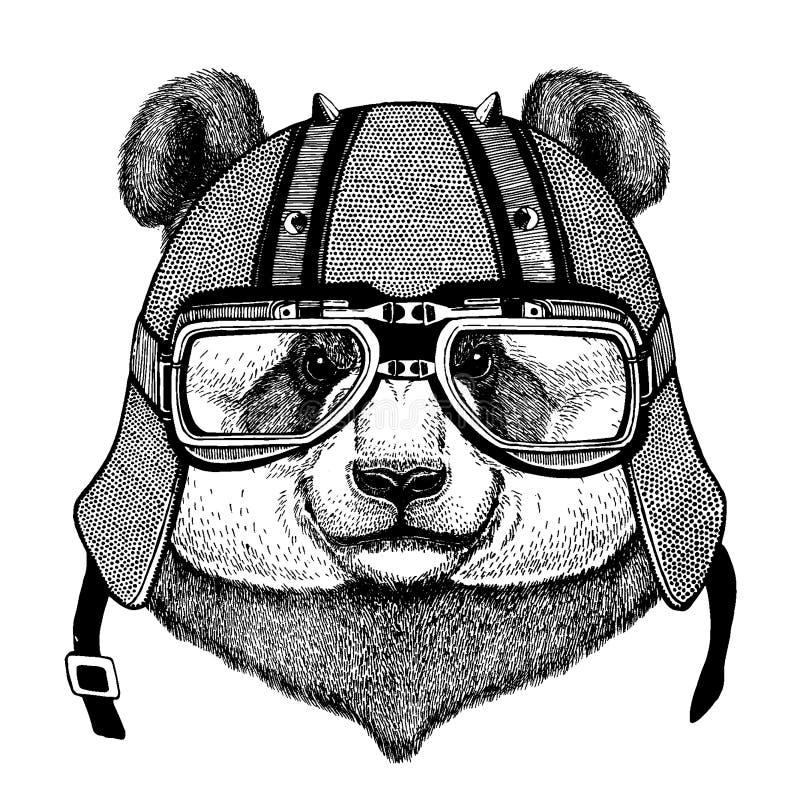 Bambubjörn, panda som bär en motorcykel, aero hjälm Utdragen bild för hand för tatueringen, t-skjorta, emblem, emblem, logo, lapp vektor illustrationer