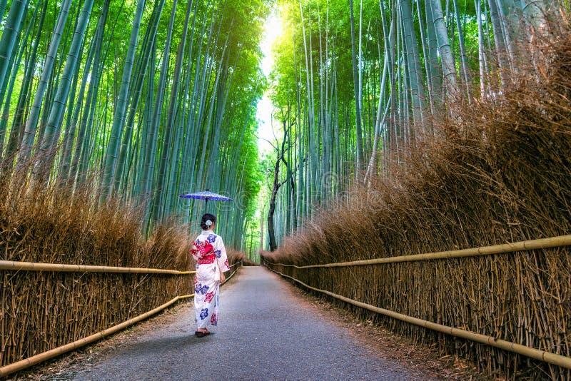 BambuForest Asian kvinna som bär den japanska traditionella kimonot på bambuskogen i Kyoto, Japan arkivbild