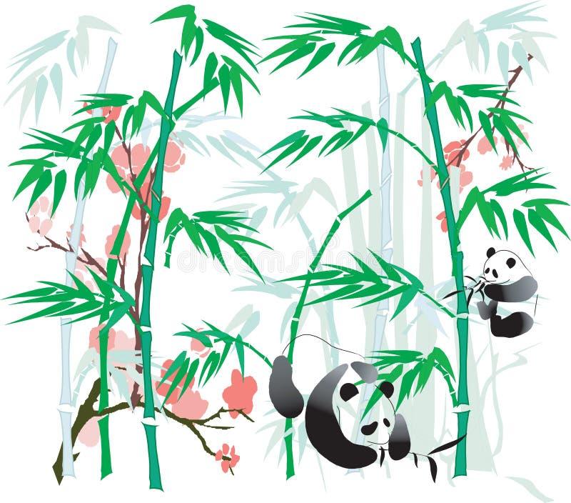 bambuillustrationpanda stock illustrationer