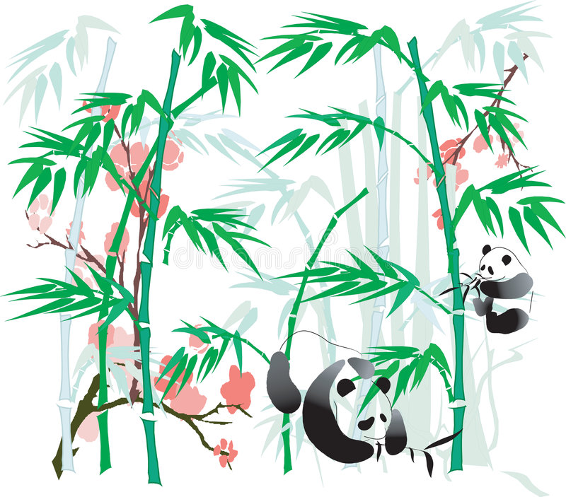 bambupanda stock illustrationer
