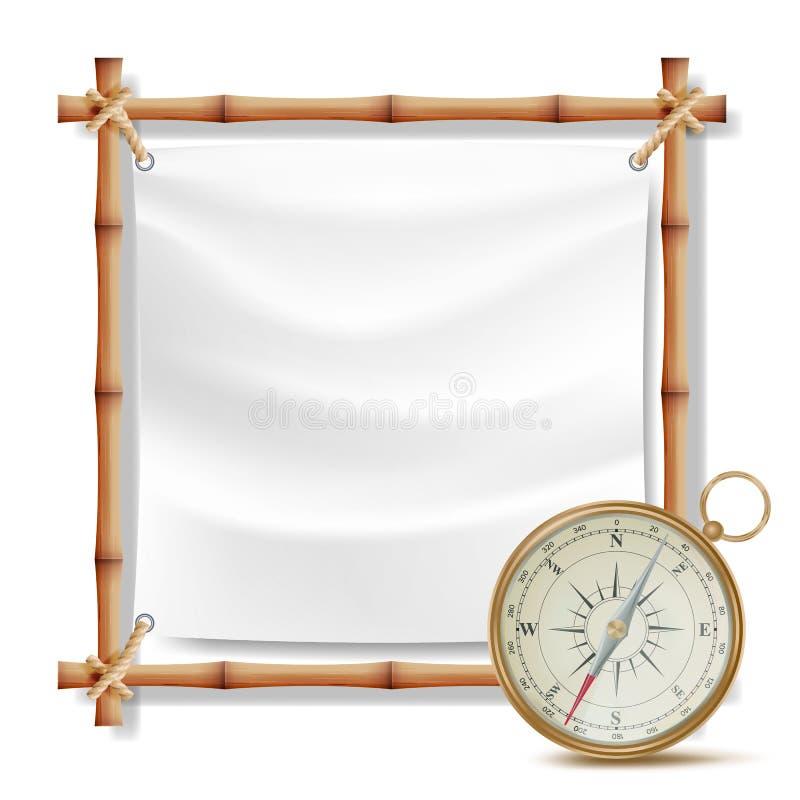Bamburam och metallkompassvektor Sommarloppbegrepp isolerad knapphandillustration skjuta s-startkvinnan vektor illustrationer