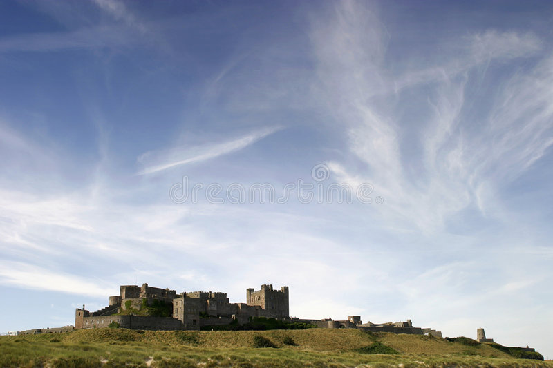 Bamburgh Castle. View of Bamburgh Castle in Northumbria England royalty free stock photo