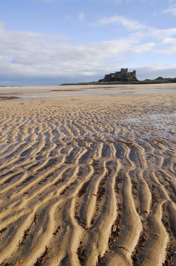 Bamburgh Castle and Beach stock photo