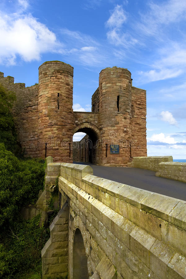Bamburgh castle3. The gate house of Bamburgh castle in Northumberland,England royalty free stock images