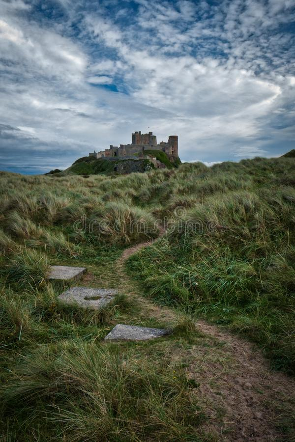 Bamburgh Castle. The Bamburgh Castle in Bamburgh in Northumberland, England royalty free stock photo