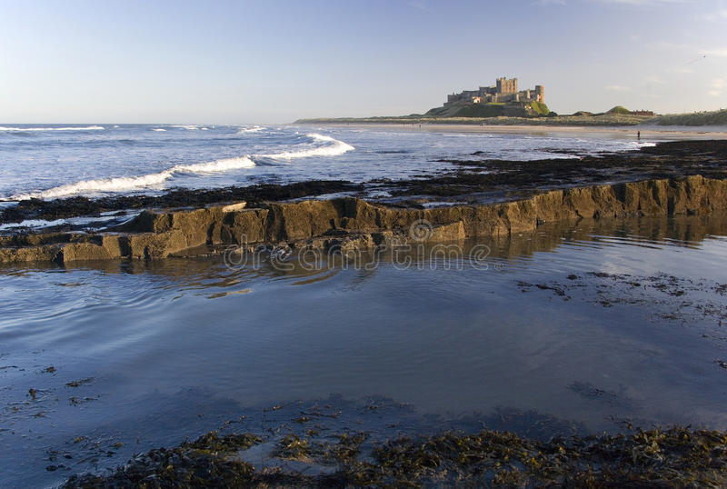 Bamburgh Castle - Northumberland - England. Bamburgh Castle is an imposing castle located on the coast at Bamburgh in Northumberland in north east England. Dates royalty free stock photography