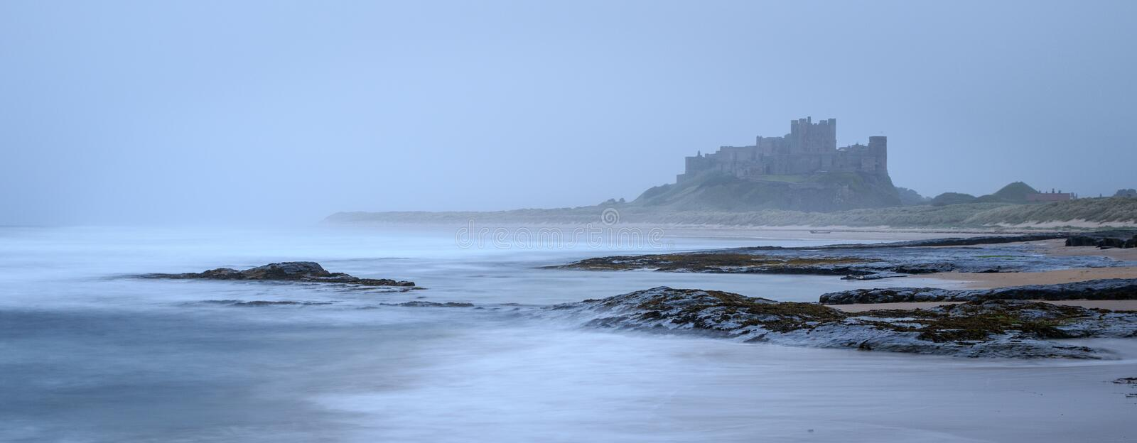 Bamburgh castle. In northumbria , Long exposure stock photos