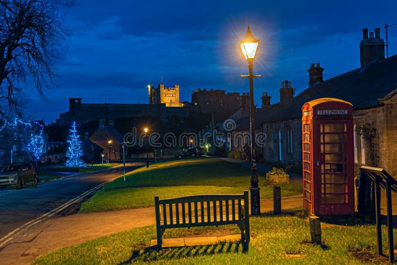 Bamburgh, Northumberland, England, UK, at dusk stock photos