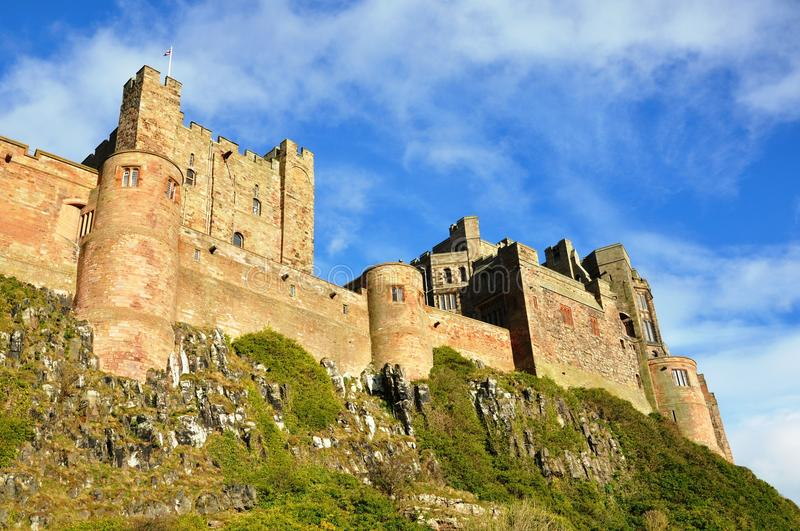 Bamburgh-Schloss in Northumberland stockbilder