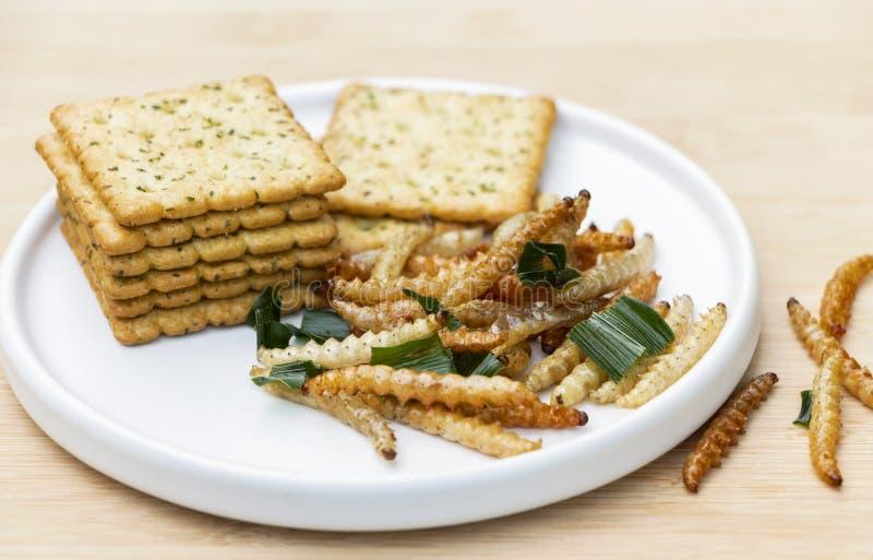 Bambus- essbare Wurminsekten knusperig oder Bambus-Caterpillar mit Plätzchen im keramischen Teller Das Konzept von Proteinnahrung lizenzfreies stockfoto