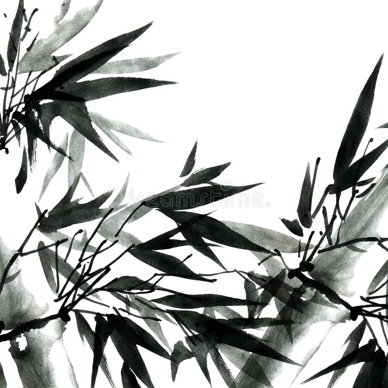 Bambus mit Blättern stock abbildung