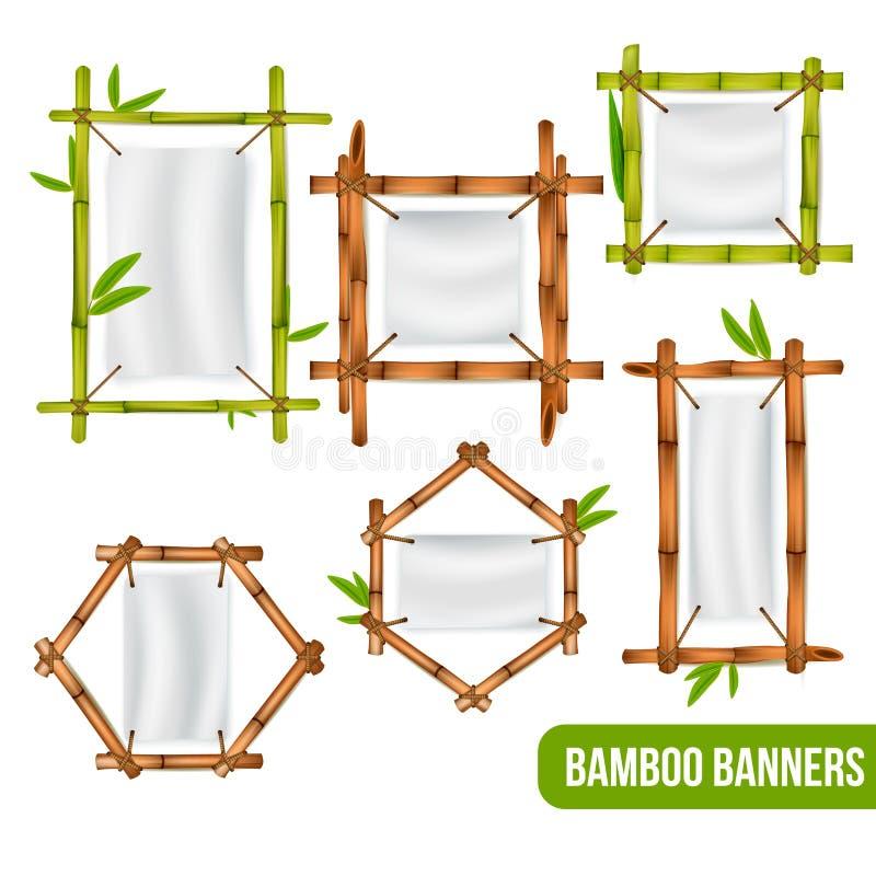 Bambus Obramia sztandary Ustawiających ilustracji