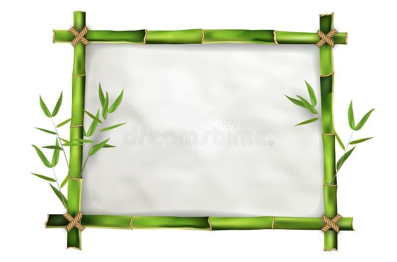 Bambus rama z realistycznym papierowym tłem ilustracji