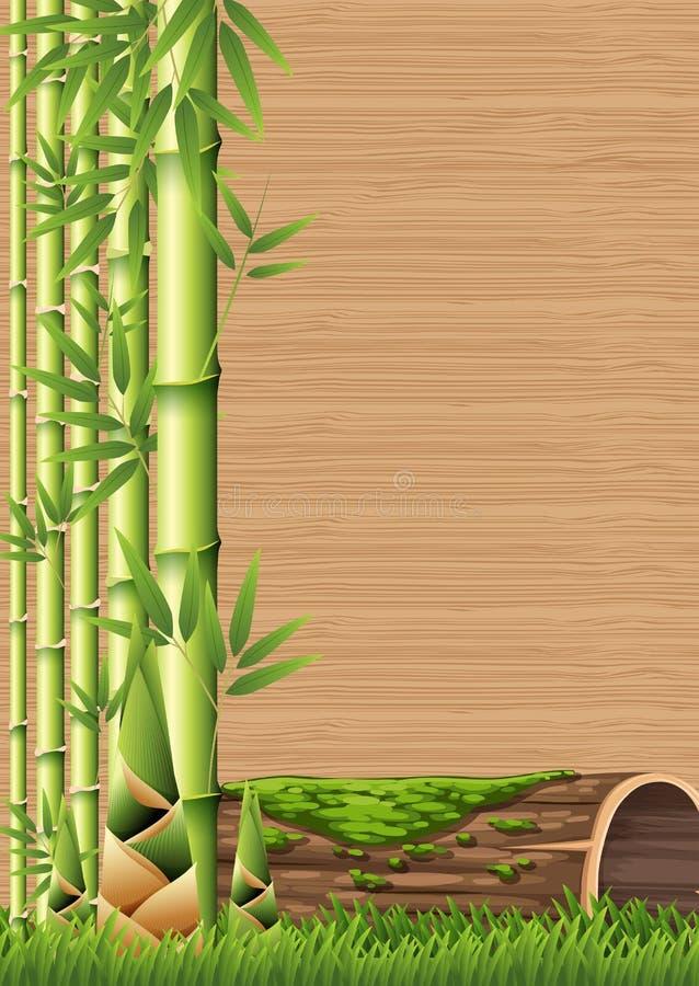 Bambus- und Bambusschoss-Schablone stock abbildung