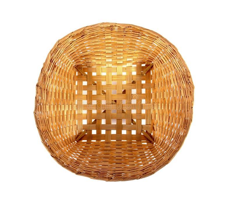 Bambus wyplata kosz od odgórnego widoku odizolowywającego na białym tle fotografia stock