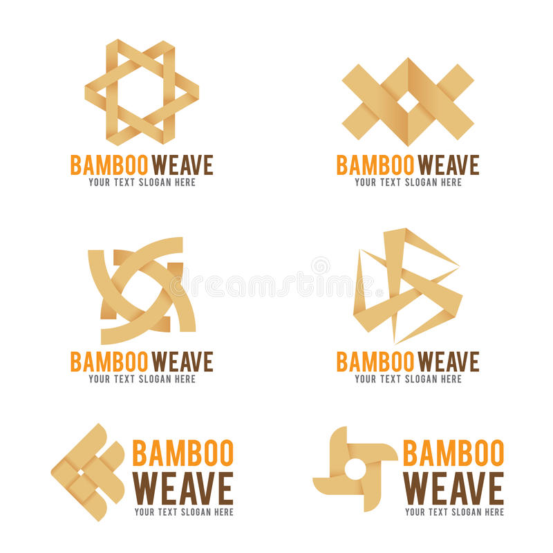 Bambus wyplata logo wektorowej ilustraci ustalonego projekt royalty ilustracja