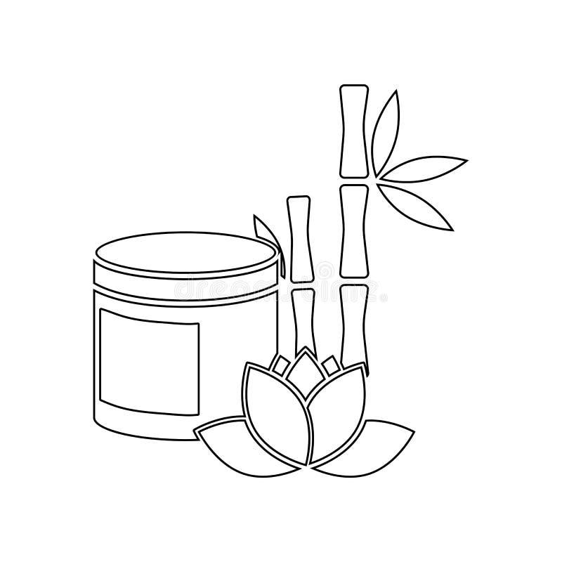 bambusa, lotosu i oleju ikona, Element zdr?j dla mobilnego poj?cia i sieci apps ikony Kontur, cienka kreskowa ikona dla strona in royalty ilustracja