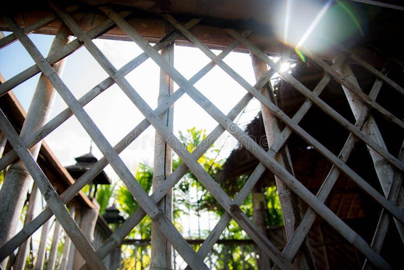 Bambusa ogrodzenia ściana obraz stock