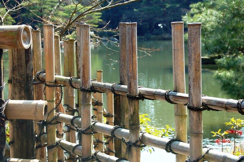Download Bambusa płotu jeziora obraz stock. Obraz złożonej z drewno - 2122031
