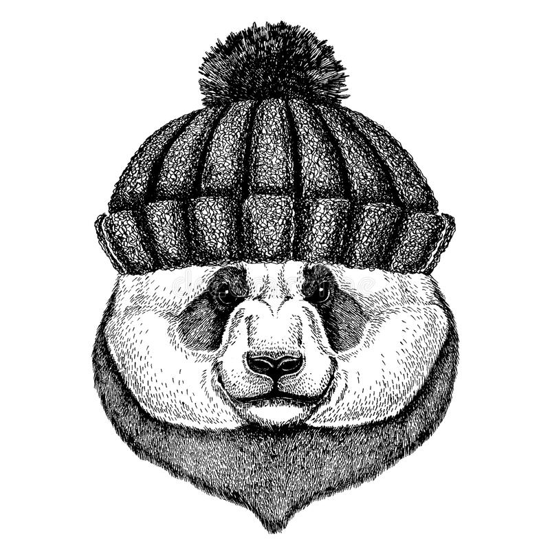 Bambusbär Panda Kühles Tier, das gestrickten Winterhut trägt Warme Kopfschmuck Beanie Weihnachtskappe für Tätowierung, T-Shirt lizenzfreie abbildung