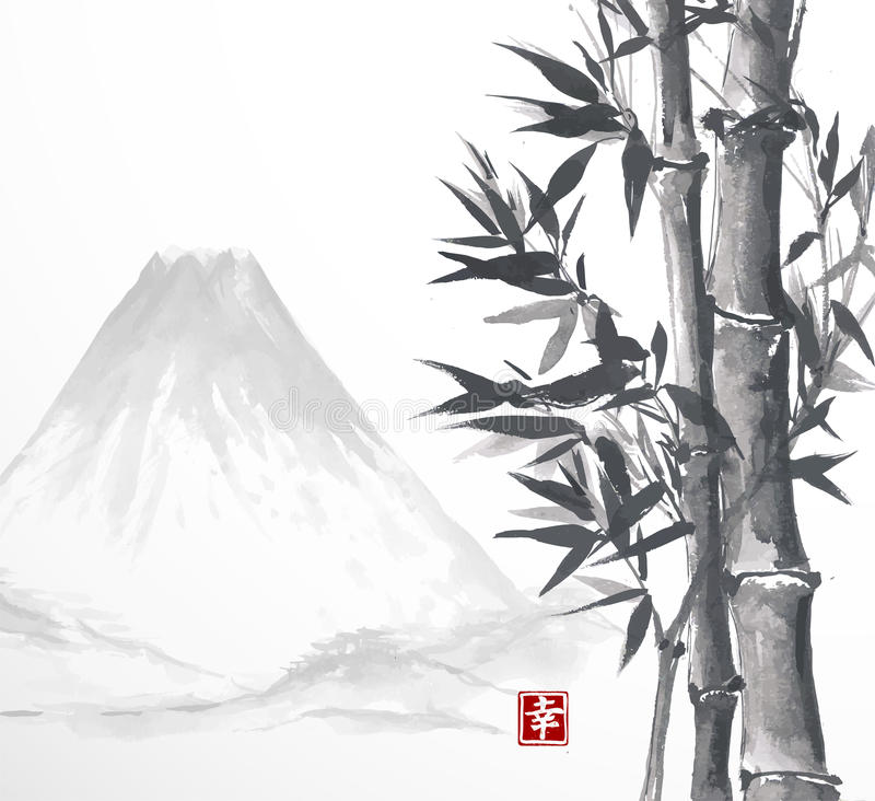 Bambusbäume und Hochgebirge lizenzfreie abbildung