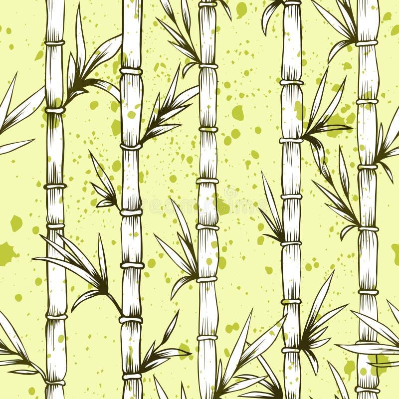 Bambusbaummuster des nahtlosen Vektors stock abbildung