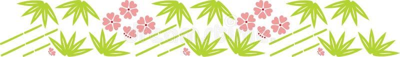 Bambusblatt und Blumen lizenzfreie abbildung