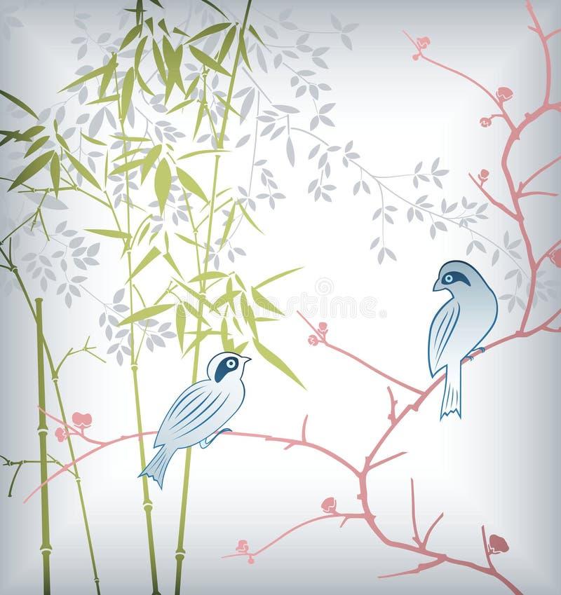 Bambusblatt und Vogel 2 vektor abbildung