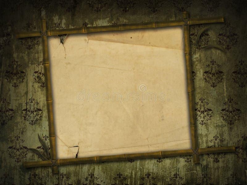 Bambusfeld mit altem Papier lizenzfreie stockfotografie