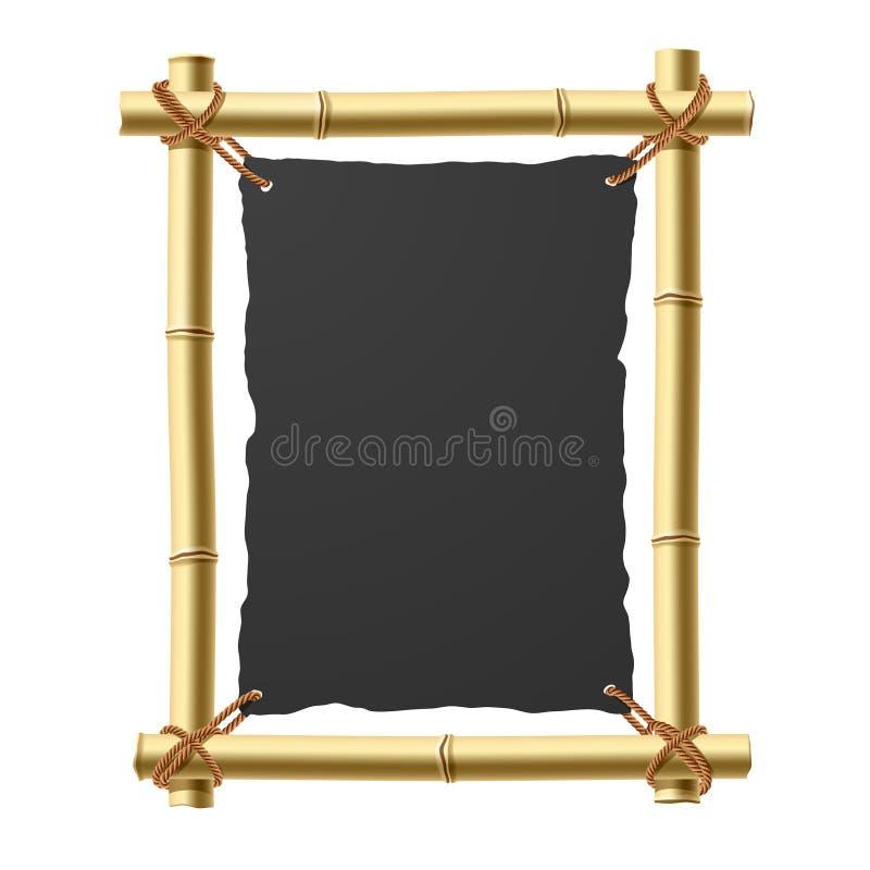 Bambusfeld mit unbelegtem schwarzem Papier stock abbildung