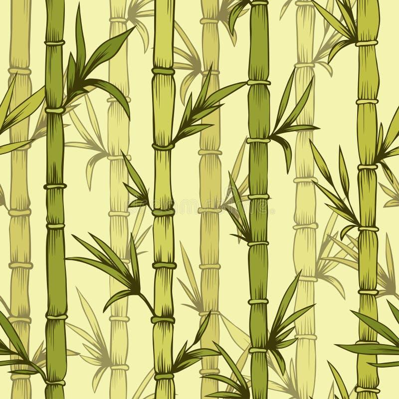 Bambusmuster des nahtlosen Vektorgrüns wald lizenzfreie abbildung