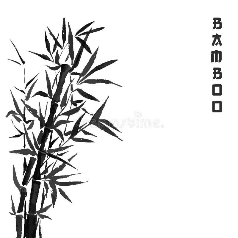 Bambusowa drzewna japońska roślina lub drzewo Tradycyjna sumi obrazu wektoru ilustracja ilustracja wektor