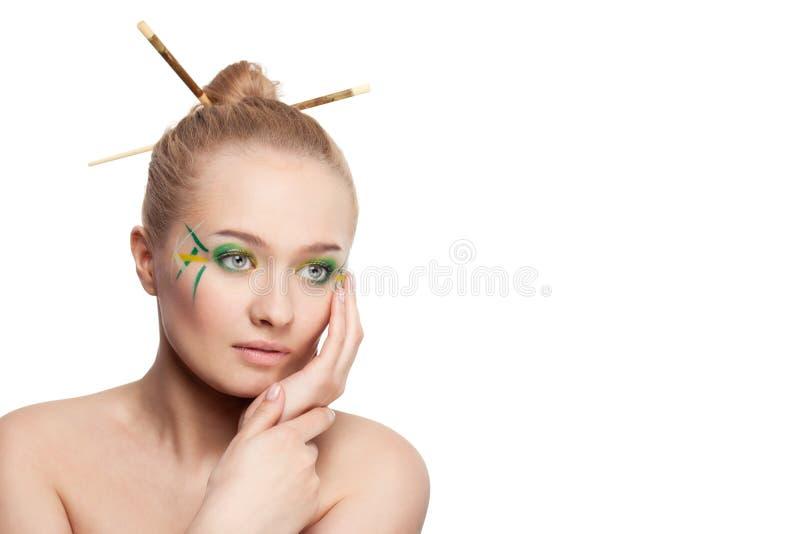 bambusowa liść makeup stylu kobieta fotografia stock