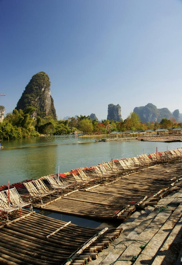 bambusowa li tratwy rzeka fotografia royalty free