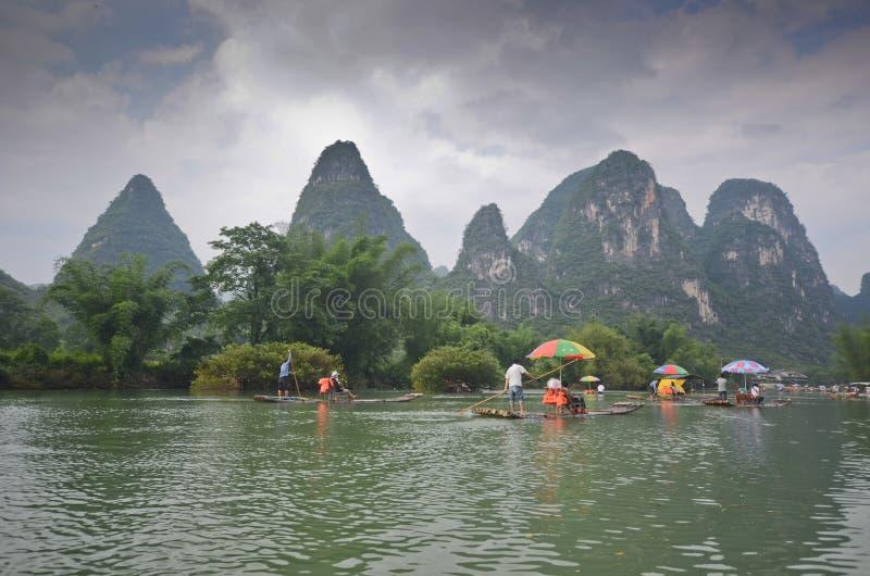 Bambusowe łodzie w Yangshuo obraz stock