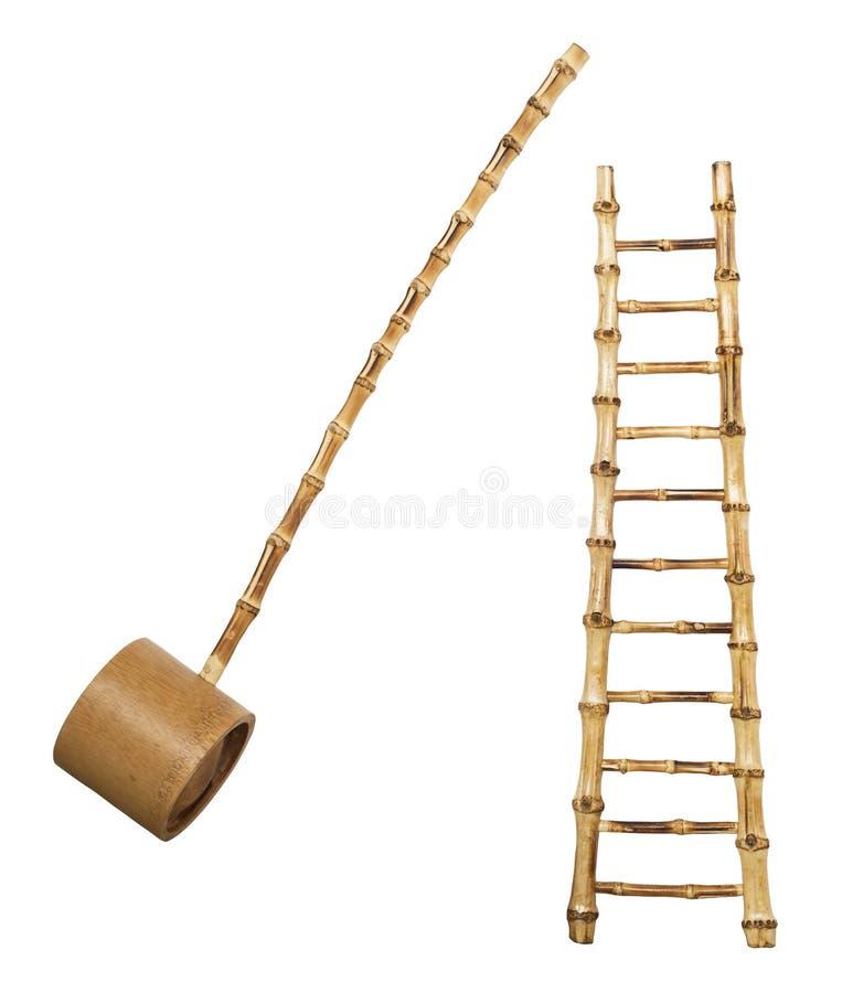 Bambusowi schodki i kopyść zdjęcie royalty free