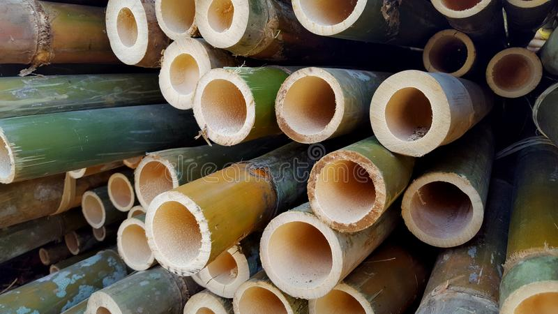 Bambusowi stosy podstawowi składniki różnorodni rękodzieła zdjęcie royalty free