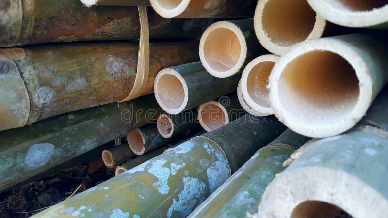 Bambusowi stosy podstawowi składniki różnorodni rękodzieła zdjęcia royalty free