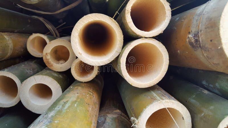 Bambusowi stosy podstawowi składniki różnorodni rękodzieła obraz royalty free