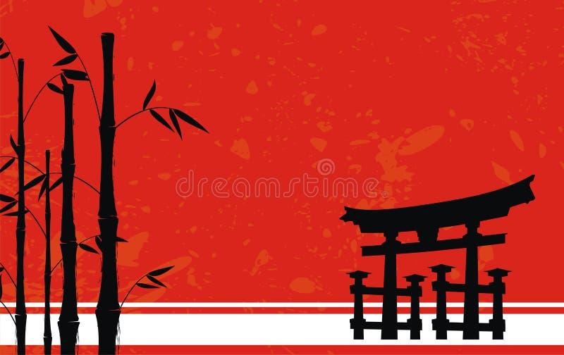 Bambusowy Japonia azjatykci drzewny tło pocztowy ilustracji