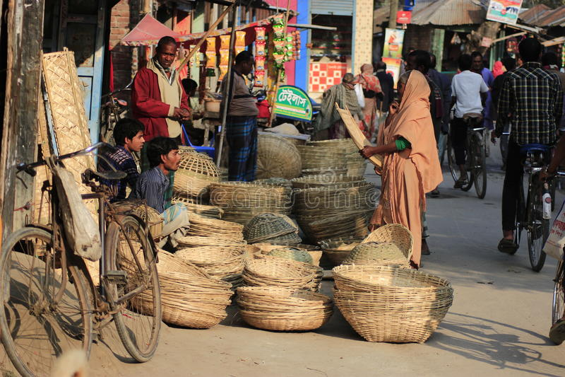 Bambusowy kosza rynek w Bangladeshbamboo kosza rynku w Bangladesz zdjęcie stock