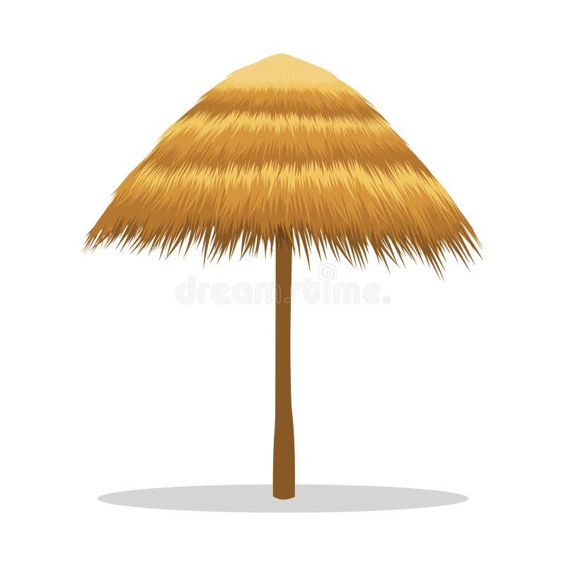 Bambusowy plażowy parasol odizolowywający na bielu ilustracji