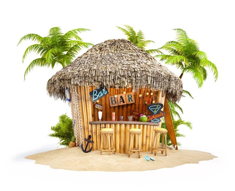 Bambusowy tropikalny bar ilustracji