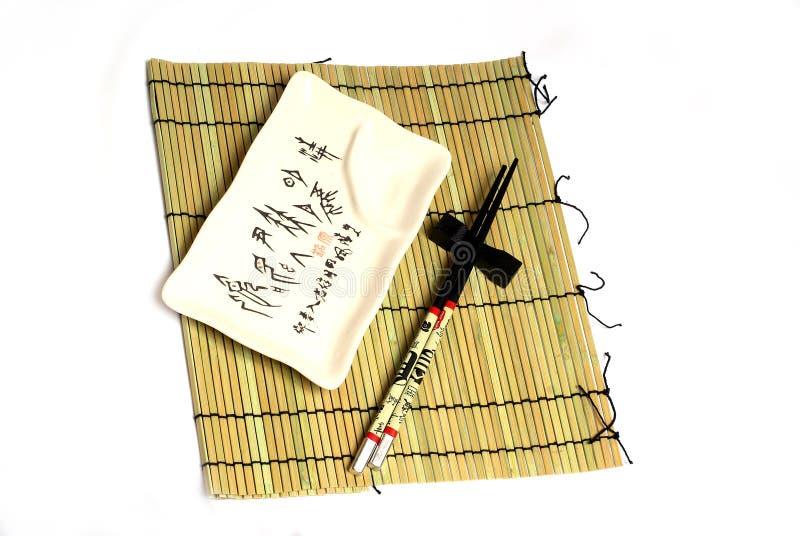 bambusowych chopsticks matowi naczynia zdjęcie stock