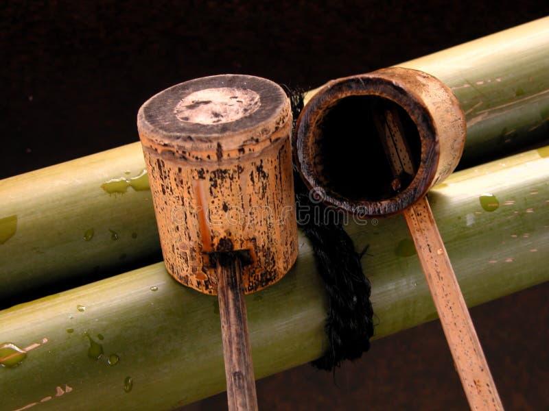 Bambusschöpflöffel Stockfoto